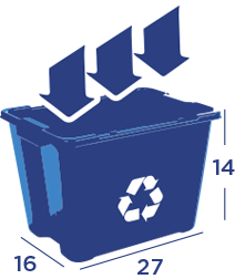 A blue recycling bin that aids in informing customers of the plastic, tin and aluminum products KB Recycling does recycle in it's residential services.