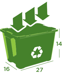 A green bin graphic that aids in informing customers of the type of paper products that KB Recycling recycles in their residential services. See list above